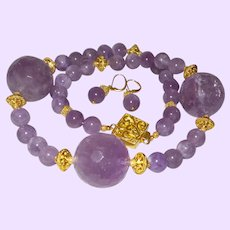 Hand Strung Chevron Amethyst Necklace With Amethyst Spheres and Gold Plate Spacers