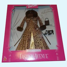 Barbie Fashion Avenue Leopard Print Over Coat With Evening Dress NRFB