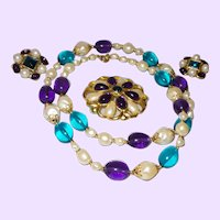 Singed Trifari Faux Pearl, Sapphire and Amethyst Set