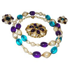 Singed Trifari Faux Pearl, Sapphire and Amethyst Set