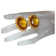 Juliana Oval Citrine Rhinestone earrings