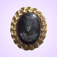 Vintage Victorian Revival Glass Cameo With Left Face Profile