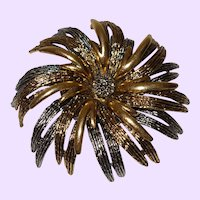 Signed Art Brooch In A Swirl Of Metal