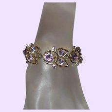 Signed Kramer Pale Lavender Rhinestone Bracelet