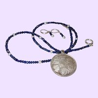Hand Strung Blue Sapphire Chip Necklace with a 30 Drachma Silver Coin