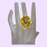 Ethnic 14 Karat Gold Plate Citrine Glass Stone Ring