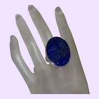 Ethnic Lapis Lazuli Ring Set in Silver