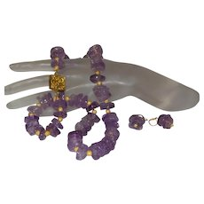Hand Strung Ametrine Rondelle Necklace With Gold Plate Clasp