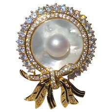 Vintage South Sea Pearl Brooch With White Zircons