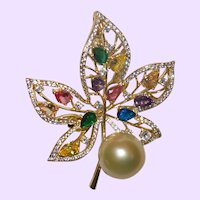 Vintage South Sea Pearl Brooch With White Zircons and Gemstones