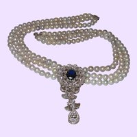 Triple Strand Baroque Pearl Necklace with A Sterling Silver Pendant