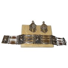 Signed Taxco Silver Bracelet and Earrings