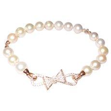 Artisan Designed Cultured Pearl Bracelet with Rose Gold