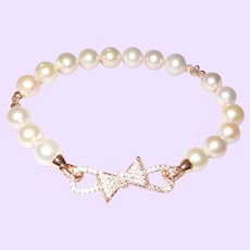 Artisan Designed Cultured Pearl Bracelet with Rose Gold