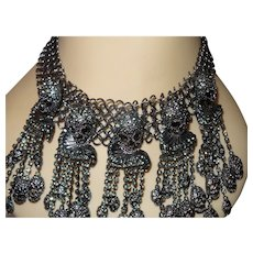 Estate Stunning Skull Black Rhinestone Dangle Necklace
