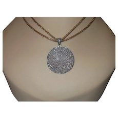 Estate Rose Cut 3 Carat Diamond Pendant with Vintage Gold Plate Chain