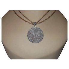 Estate Rough Cut 3 Carat Diamond Pendant with Vintage Gold Plate Chain