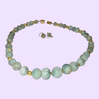 Artisan Designed Aquamarine Necklace With 14 Karat Gold Plate Beads