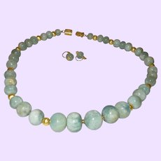 Artisan Designed Aquamarine Necklace With 14 Karate Gold Plate Beads