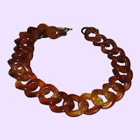 Vintage Amber Colored Lucite Chain Link Necklace
