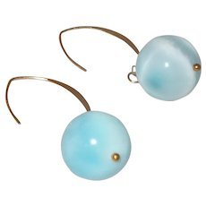 Larimar Dangle Earrings with 14 KYG Wire