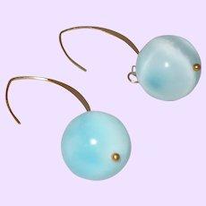 Larimar Dangle Earrings with 14 KYG Wire