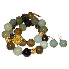Round Beaded Jade Necklace with Earrings