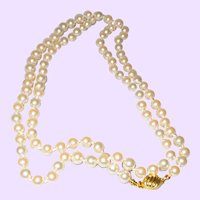"Signed Marvella Thirty"" Hand Knotted Faux Pearl Necklace"
