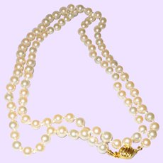 """Signed Marvella Thirty"""" Hand Knotted Faux Pearl Necklace"""