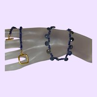 Natural Blue Sapphire Briolette and Rondelle Necklace