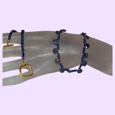 Natural Blue Sapphire Briolette and Rondelle Necklace