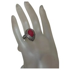 Ethnic Kashmir Red Ruby Ring Set In Silver