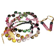 Delicate Necklace of Rainbow Tourmaline Briolettes