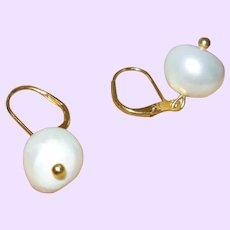 Creamy White Baroque Cultured Pearl on Gold Filled Lever Backs