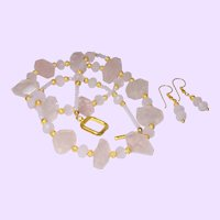 Rose Quartz Nugget Necklace with Gold Filled Balls