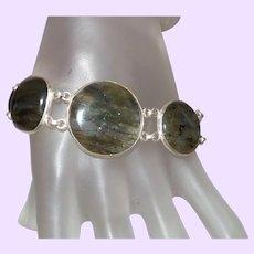 Ethnic Labradorite Bracelet Set In Silver