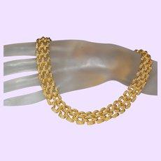 Signed Monet Basket Weave Necklace