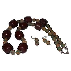 Barrel Baltic Amber with Dzi Beads and Silver Spacers