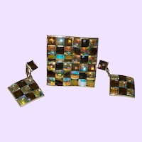 Signed Weiss Checker Board Brooch Set