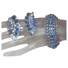 Signed Weiss Blue Rhinestone Bracelet and Earring Set