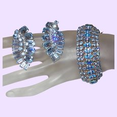 Signed Weiss Blue Rhinestone Bracelet and Earring Set