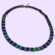 Vintage Mexican Malachite and Lapis Necklace