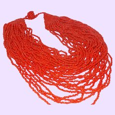 Vintage Thirty-One Strand Red Coral Necklace
