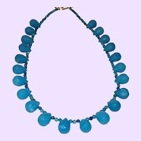 Blue Agate Briolette Necklace with Gold Plate Clasp