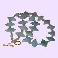 Aquamarine Trillion Cut Necklace With Moonstone