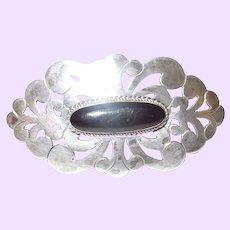 Vintage Sterling Silver Onyx Filigree Brooch