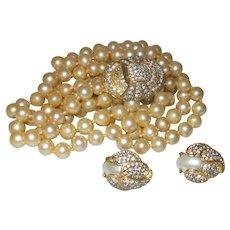 Rare Vintage KJL Laguna Triple Strand Faux Pearl Necklace/Earrings