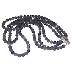 Triple Strand of Tanzanite with Silver Beading and Sterling Clasp
