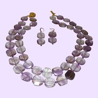 Double Strand of Ametrine Squares with Earrings