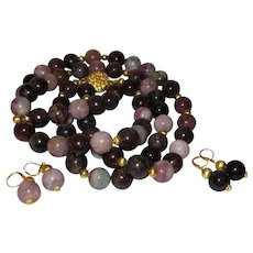 Natural Tourmaline Bead Necklace With Gold Plate Spacers